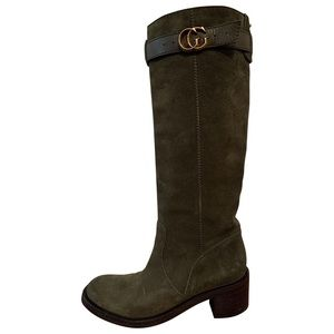 Gucci riding boots army green suede 38 (8us)